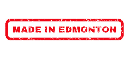 edmonton: Made In Edmonton text rubber seal stamp watermark. Caption inside rounded rectangular banner with grunge design and dust texture. Horizontal vector red ink sign on a white background.