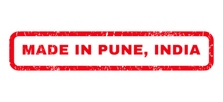 Made In Pune, India text rubber seal stamp watermark. Caption inside rounded rectangular banner with grunge design and scratched texture. Horizontal vector red ink emblem on a white background.