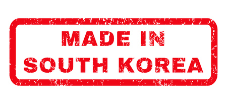 Made In South Korea text rubber seal stamp watermark. Caption inside rounded rectangular shape with grunge design and dirty texture. Horizontal vector red ink sign on a white background.