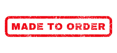 made to order: Made To Order text rubber seal stamp watermark. Caption inside rounded rectangular shape with grunge design and dust texture. Horizontal vector red ink sign on a white background.