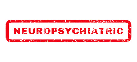 Neuropsychiatric text rubber seal stamp watermark. Tag inside rounded rectangular banner with grunge design and scratched texture. Horizontal vector red ink emblem on a white background.