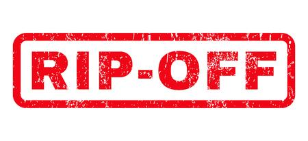 Filigrana del timbro di gomma del testo di Rip-Off. Tag all'interno di forma rettangolare arrotondata con design grunge e consistenza sporca. Segno di inchiostro rosso vettore orizzontale su sfondo bianco.