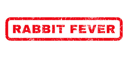 Rabbit Fever text rubber seal stamp watermark. Tag inside rounded rectangular banner with grunge design and unclean texture. Horizontal vector red ink emblem on a white background.
