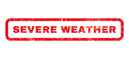 severe weather: Severe Weather text rubber seal stamp watermark. Tag inside rounded rectangular banner with grunge design and scratched texture. Horizontal vector red ink emblem on a white background.