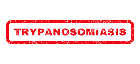 parasitic infestation: Trypanosomiasis text rubber seal stamp watermark. Caption inside rounded rectangular banner with grunge design and scratched texture. Horizontal vector red ink sign on a white background.