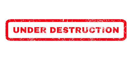 housebreaking: Under Destruction text rubber seal stamp watermark. Caption inside rounded rectangular banner with grunge design and dust texture. Horizontal vector red ink sign on a white background. Illustration