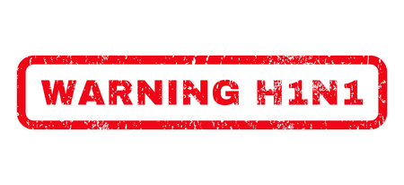 h1n1: Warning H1N1 text rubber seal stamp watermark. Tag inside rounded rectangular shape with grunge design and dust texture. Horizontal vector red ink sticker on a white background. Illustration