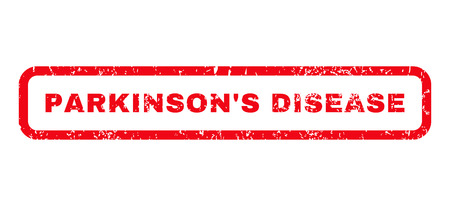 parkinson's disease: ParkinsonS Disease text rubber seal stamp watermark. Tag inside rounded rectangular banner with grunge design and unclean texture. Horizontal vector red ink emblem on a white background. Illustration