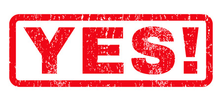 certainty: Yes! text rubber seal stamp watermark. Caption inside rounded rectangular shape with grunge design and dust texture. Horizontal vector red ink emblem on a white background.