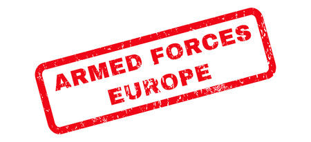 armed services: Armed Forces Europe text rubber seal stamp watermark. Caption inside rounded rectangular banner with grunge design and unclean texture. Slanted vector red ink emblem on a white background. Illustration