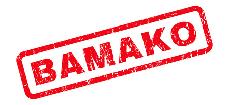 Bamako text rubber seal stamp watermark. Caption inside rounded rectangular shape with grunge design and dirty texture. Slanted vector red ink sticker on a white background.