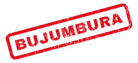 bujumbura: Bujumbura text rubber seal stamp watermark. Caption inside rounded rectangular banner with grunge design and dirty texture. Slanted vector red ink sticker on a white background.