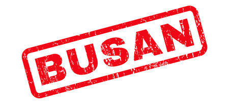 Busan text rubber seal stamp watermark. Caption inside rounded rectangular shape with grunge design and dust texture. Slanted vector red ink emblem on a white background.