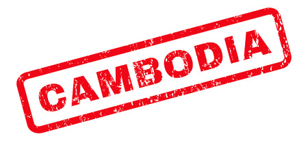 cambodian: Cambodia text rubber seal stamp watermark. Caption inside rounded rectangular banner with grunge design and unclean texture. Slanted vector red ink sign on a white background. Illustration