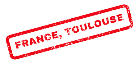 toulouse: France, Toulouse text rubber seal stamp watermark. Tag inside rounded rectangular banner with grunge design and dirty texture. Slanted vector red ink emblem on a white background.