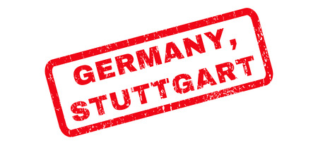 stuttgart: Germany, Stuttgart text rubber seal stamp watermark. Tag inside rounded rectangular shape with grunge design and dirty texture. Slanted vector red ink sign on a white background.
