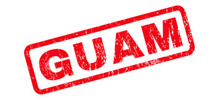 Guam text rubber seal stamp watermark. Tag inside rounded rectangular shape with grunge design and unclean texture. Slanted vector red ink emblem on a white background.