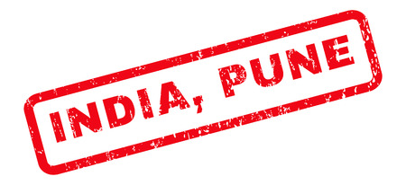 pune: India, Pune text rubber seal stamp watermark. Caption inside rounded rectangular banner with grunge design and scratched texture. Slanted vector red ink sign on a white background. Illustration