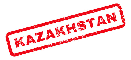 kazakhstan: Kazakhstan text rubber seal stamp watermark. Tag inside rounded rectangular shape with grunge design and dirty texture. Slanted vector red ink sticker on a white background.