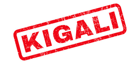 kigali: Kigali text rubber seal stamp watermark. Caption inside rounded rectangular banner with grunge design and unclean texture. Slanted vector red ink sticker on a white background.