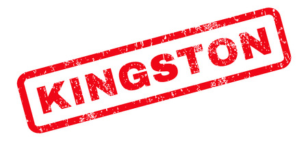 kingston: Kingston text rubber seal stamp watermark. Tag inside rounded rectangular shape with grunge design and dust texture. Slanted vector red ink sign on a white background.