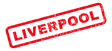 liverpool: Liverpool text rubber seal stamp watermark. Tag inside rounded rectangular shape with grunge design and unclean texture. Slanted vector red ink sign on a white background. Illustration
