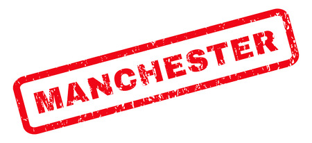 manchester: Manchester text rubber seal stamp watermark. Caption inside rounded rectangular shape with grunge design and unclean texture. Slanted vector red ink emblem on a white background.