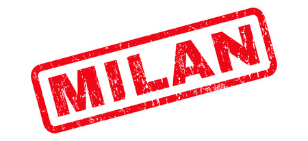 Milan text rubber seal stamp watermark. Caption inside rounded rectangular shape with grunge design and unclean texture. Slanted vector red ink sign on a white background.