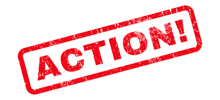 Action! text rubber seal stamp watermark. Caption inside rounded rectangular banner with grunge design and unclean texture. Slanted vector red ink sign on a white background.