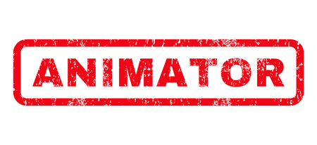 animator: Animator text rubber seal stamp watermark. Caption inside rounded rectangular shape with grunge design and dust texture. Horizontal glyph red ink emblem on a white background.