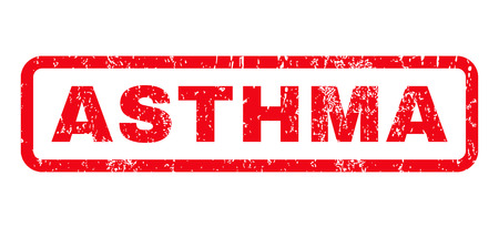 Asthma text rubber seal stamp watermark. Tag inside rounded rectangular shape with grunge design and scratched texture. Horizontal glyph red ink sign on a white background. Stock Photo