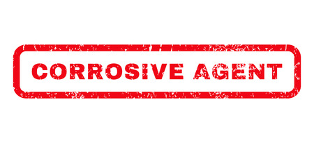 corrosive: Corrosive Agent text rubber seal stamp watermark. Tag inside rounded rectangular shape with grunge design and unclean texture. Horizontal glyph red ink emblem on a white background. Stock Photo