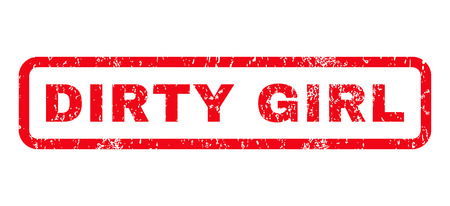 dirty girl: Dirty Girl text rubber seal stamp watermark. Caption inside rounded rectangular banner with grunge design and unclean texture. Horizontal glyph red ink sticker on a white background. Stock Photo