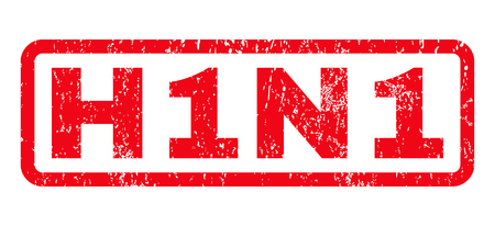 H1N1 text rubber seal stamp watermark. Caption inside rounded rectangular banner with grunge design and unclean texture. Horizontal glyph red ink sticker on a white background.