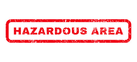 hazardous sign: Hazardous Area text rubber seal stamp watermark. Caption inside rounded rectangular banner with grunge design and dirty texture. Horizontal glyph red ink sign on a white background. Stock Photo