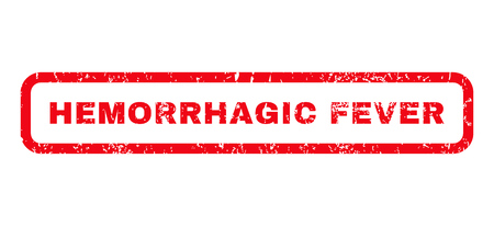 quarantine: Hemorrhagic Fever text rubber seal stamp watermark. Tag inside rounded rectangular banner with grunge design and dirty texture. Horizontal glyph red ink sticker on a white background.