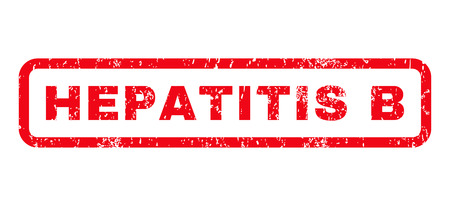 hepatitis b: Hepatitis B text rubber seal stamp watermark. Tag inside rounded rectangular banner with grunge design and scratched texture. Horizontal glyph red ink emblem on a white background.