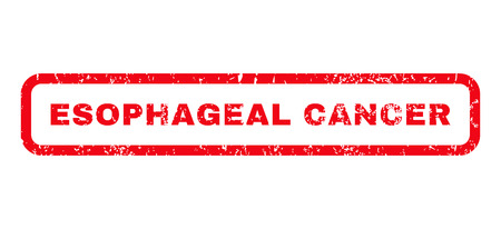 esophagus: Esophageal Cancer text rubber seal stamp watermark. Tag inside rounded rectangular banner with grunge design and scratched texture. Horizontal glyph red ink sticker on a white background. Stock Photo