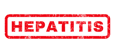 hepatitis: Hepatitis text rubber seal stamp watermark. Caption inside rounded rectangular banner with grunge design and scratched texture. Horizontal glyph red ink sticker on a white background. Stock Photo