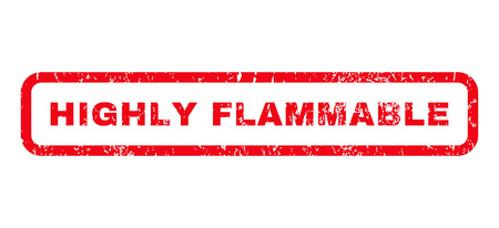 Highly Flammable text rubber seal stamp watermark. Tag inside rounded rectangular shape with grunge design and dust texture. Horizontal glyph red ink sticker on a white background.