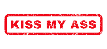 jackass: Kiss My Ass text rubber seal stamp watermark. Tag inside rounded rectangular shape with grunge design and unclean texture. Horizontal glyph red ink sticker on a white background.