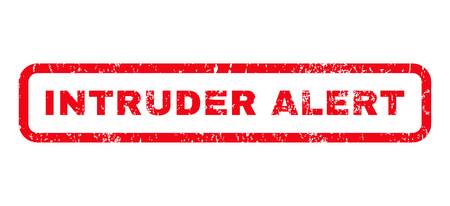 intruder: Intruder Alert text rubber seal stamp watermark. Caption inside rounded rectangular banner with grunge design and dirty texture. Horizontal glyph red ink sticker on a white background.