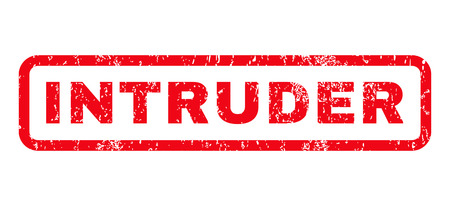 intruder: Intruder text rubber seal stamp watermark. Caption inside rounded rectangular banner with grunge design and dust texture. Horizontal glyph red ink sticker on a white background. Stock Photo