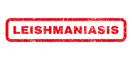 parasitic infestation: Leishmaniasis text rubber seal stamp watermark. Tag inside rounded rectangular banner with grunge design and scratched texture. Horizontal glyph red ink emblem on a white background.