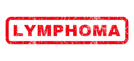 tumors: Lymphoma text rubber seal stamp watermark. Tag inside rounded rectangular banner with grunge design and dust texture. Horizontal glyph red ink emblem on a white background. Stock Photo