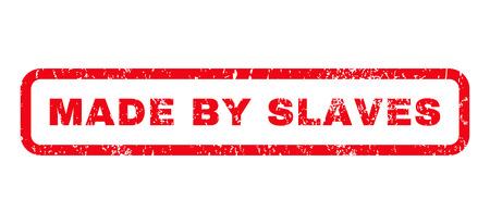 Hergestellt von Sklaven Text Gummidichtung Stempel Wasserzeichen. Bildunterschrift innen abgerundet rechteckige Form mit Grunge-Design und schmutzig Textur. Horizontale Glyphe roter Tinte Zeichen auf einem weißen Hintergrund.