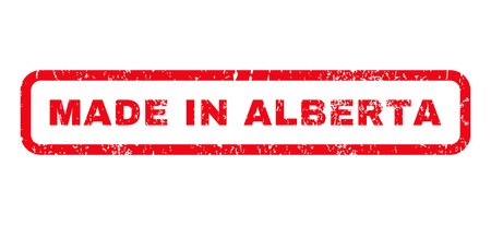 alberta: Made In Alberta text rubber seal stamp watermark. Caption inside rounded rectangular banner with grunge design and dirty texture. Horizontal glyph red ink sign on a white background.
