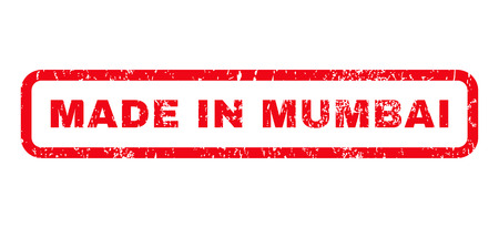 certificated: Made In Mumbai text rubber seal stamp watermark. Caption inside rounded rectangular shape with grunge design and unclean texture. Horizontal glyph red ink sign on a white background. Stock Photo