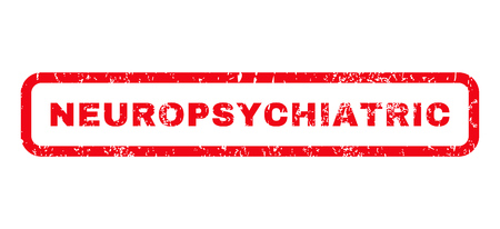 Neuropsychiatric text rubber seal stamp watermark. Tag inside rounded rectangular shape with grunge design and unclean texture. Horizontal glyph red ink emblem on a white background.