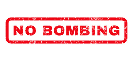 bombing: No Bombing text rubber seal stamp watermark. Tag inside rounded rectangular banner with grunge design and scratched texture. Horizontal glyph red ink emblem on a white background.